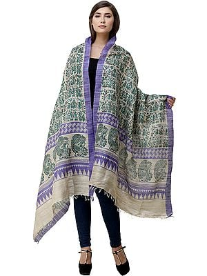 Frozen-Dew Dupatta with Printed Village Scenes