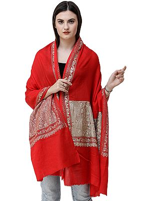 Rococco-Red Stole from Amritsar with Ari-Embroidered Paisleys on Border