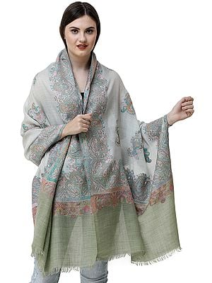 Spa-Blue Kani Jamawar Stole from Amritsar with Woven Paisleys in Multicolor Thread