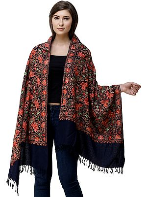 Stole from Amritsar with Ari-Embroidered Flowers All-Over