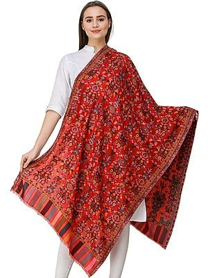 Kani Jamawar Stole from Amritsar with Woven Flowers in Multicolor Thread