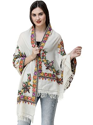 Powder-Puff Stole from Kashmir with Ari Hand-Embroidered Flowers in Multicolor Thread