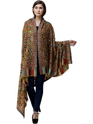 Kani Jamawar Shawl from Amritsar with Multicolor Floral Vines