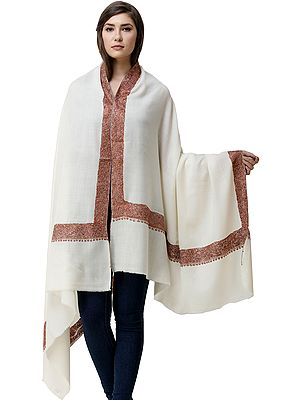 Shawl from Kashmir with Sozni Hand Embroidery on Border