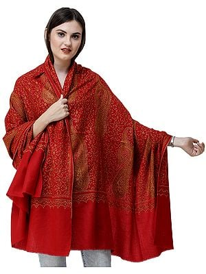 Kashmiri Tusha Shawl with Sozni Hand-Embroidered Giant Mandala and Paisleys
