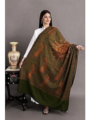 Kashmiri Tusha Shawl with Sozni Hand-Embroidered Giant Mandala and Paisleys