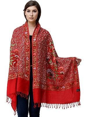 Stole from Amritsar with Ari-Embroidered Flowers and Leaves