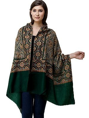 Kashmiri Stole with Sozni Hand-Embroidered Flowers and Motifs in Multicolor Thread
