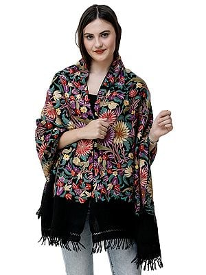 Phantom-Black Kashmiri Stole with Ari Hand-Embroidered Flowers in Multicolored Thread