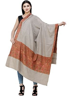 Oxford-Tan Pure Pashmina Shawl from Kashmir with Diamond Weave and Sozni Hand-Embroidered Paisleys