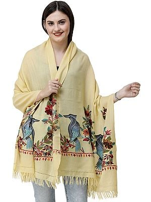 Sunshine Stole from Kashmir with Ari Hand-Embroidered Birds in Multicolor Thread