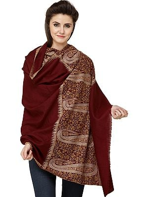 Tibetan-Red Pure Pashmina Shawl from Kashmir with Sozni Hand-Embroidered Maple Leaves and Giant Paisleys