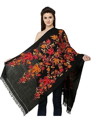 Caviar-Black Shawl from Srinagar with Hand-Embroidered Maple Tree