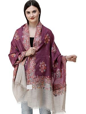 Violet-Quartz Kani Jamawar Stole from Amritsar with Woven Paisleys in Multicolor Thread