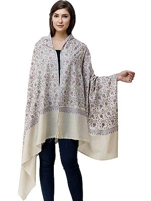 Moon-Beam Pure Pashmina Shawl from Kashmir with Sozni Hand-Embroidered Flowers All-Over