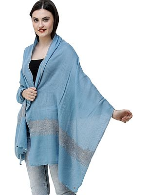 Milky-Blue Cashmere Stole from Kashmir with Sozni Embroidered Paisleys and Diamond Weave