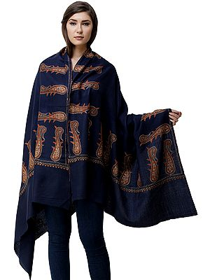 Navy-Blue Tusha Shawl from Kashmir with Sozni Embroidered Giant Paisleys on Border