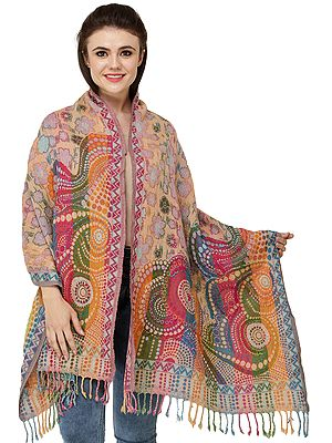 Multicolor Jamawar Stole from Amritsar with Hand-Embroidered Flowers