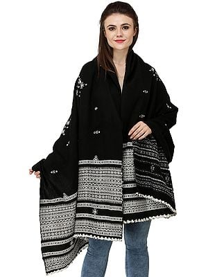 Pirate-Black Shawl from Kutch with Embroidered Bootis and Mirrors