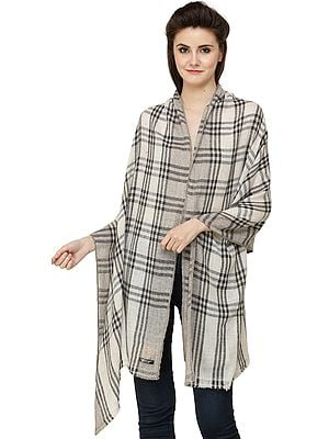Black and White Cashmere Stole from Nepal with Woven Checks All-Over