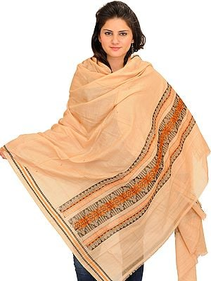 Desert-Dust Bomkai Dupatta from Orissa with Woven Motifs on Border