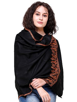 Tusha Stole from Kashmir with Sozni Embroidery on Border