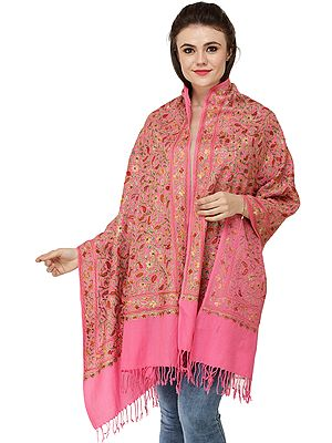 Stole from Amritsar with Multi-Colored Embroidered Flowers and Paisleys
