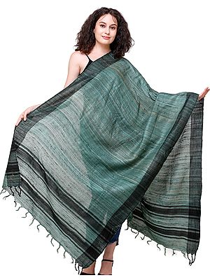 Bottle-Green Dupatta from Jharkhand with Striped Border