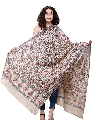 Pearled-Ivory Kosa Dupatta from Jharkhand with Block Print