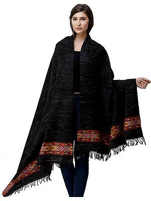 Black-Ink Yak Wool Shawl from Kullu with Kinnauri Woven Border in Multicolor Thread