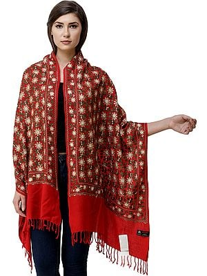 Stole from Amritsar with Ari Embroidered Flowers All-Over