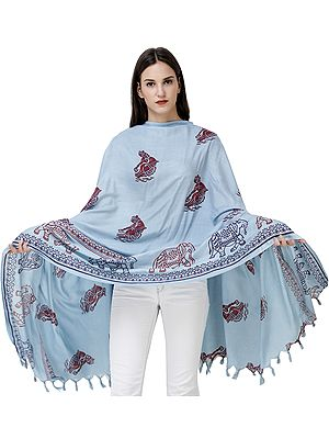 Shawl from Kashi with Printed Village Woman and Elephants