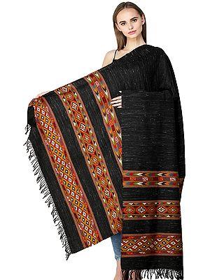 Nine-Iron Shawl from Kullu with Kinnauri Multicolor Woven Triple Border