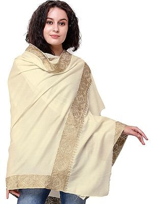 Cream Shawl from Kashmir with Zari-Embroidery on Border