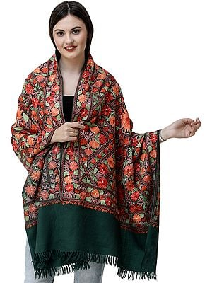 Kashmiri Stole with Ari-Embroidered Multicolored Flowers All-Over