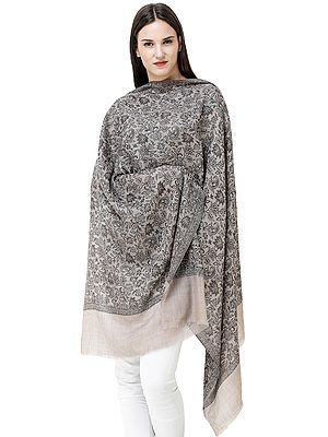 Steel-Gray Jamawar Shawl from Amritsar with Woven Flowers