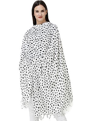 White Shawl from Kashi with Block-Printed Polka Dots