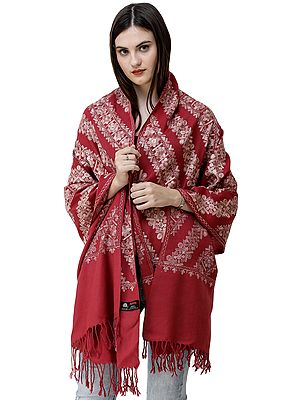 Stole from Amritsar with Diagonal Floral Ari Embroidery