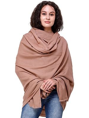 Roebuck-Brown Cashmere Shawl from Nepal with Diagonal Weave