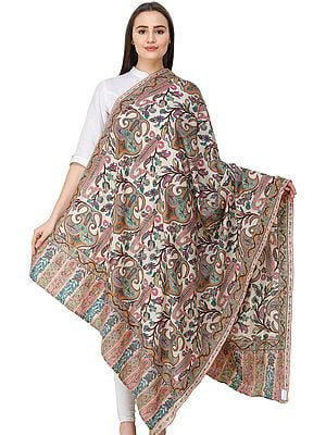 Ivory Pashmina Kani Shawl from Kashmir with Kalamkari Hand-Embroidered Giant Paisleys