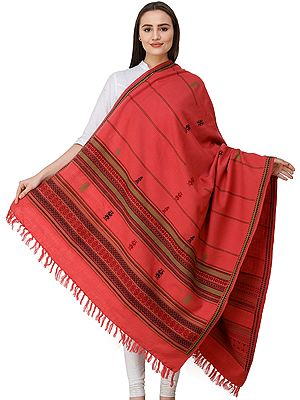 Handloom Shawl from Manipur with Traditional Motifs