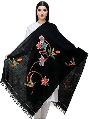 Stole from Kashmir with Hand-Embroidered Multicolor Flowers and Vines