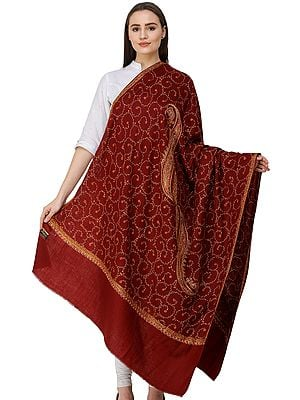 Tusha Shawl from Amritsar with Hand-Embroidered Floral Vines and Paisleys