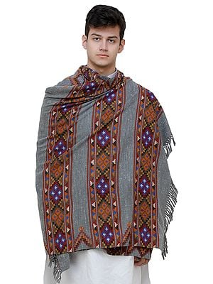 Cloudburst-Gray Men's Shawl from Kullu with Kinnauri Woven Triple Border in Multicolor Thread
