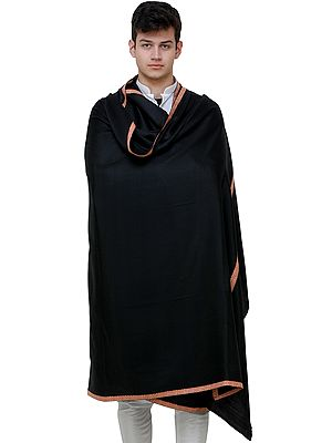 Pirate-Black Men's Shawl from Amritsar with Needle Embroidery on Border