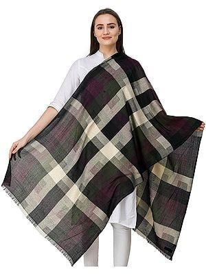 Jet-Black Stole from Nepal with Woven Checks in Zari Thread