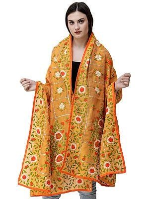 Phulkari Dupatta from Punjab with Multicolor Hand-Embroidery and Gota Checks