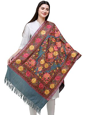 Smoke-Blue Stole from Kashmir with Aari-Embroidered Flowers in Mutlicolor Thread
