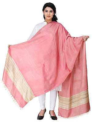 Plain Kosa Dupatta from Jharkhand with Woven Jute Border