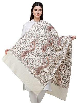 Tusha Stole from Kashmir with Sozni Hand-Embroidered Floral Vines and Paisleys